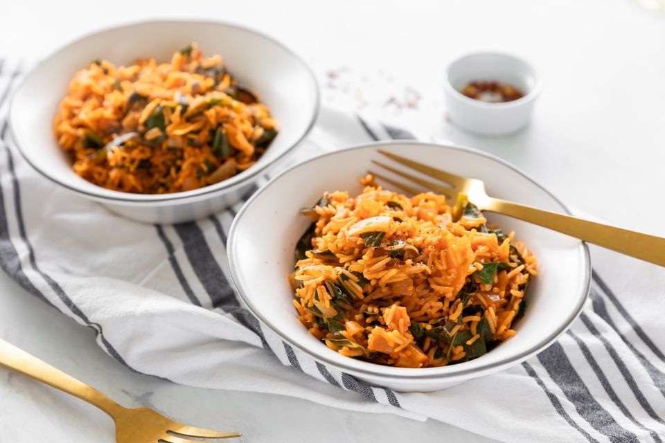 Easy vegan collard greens with rice