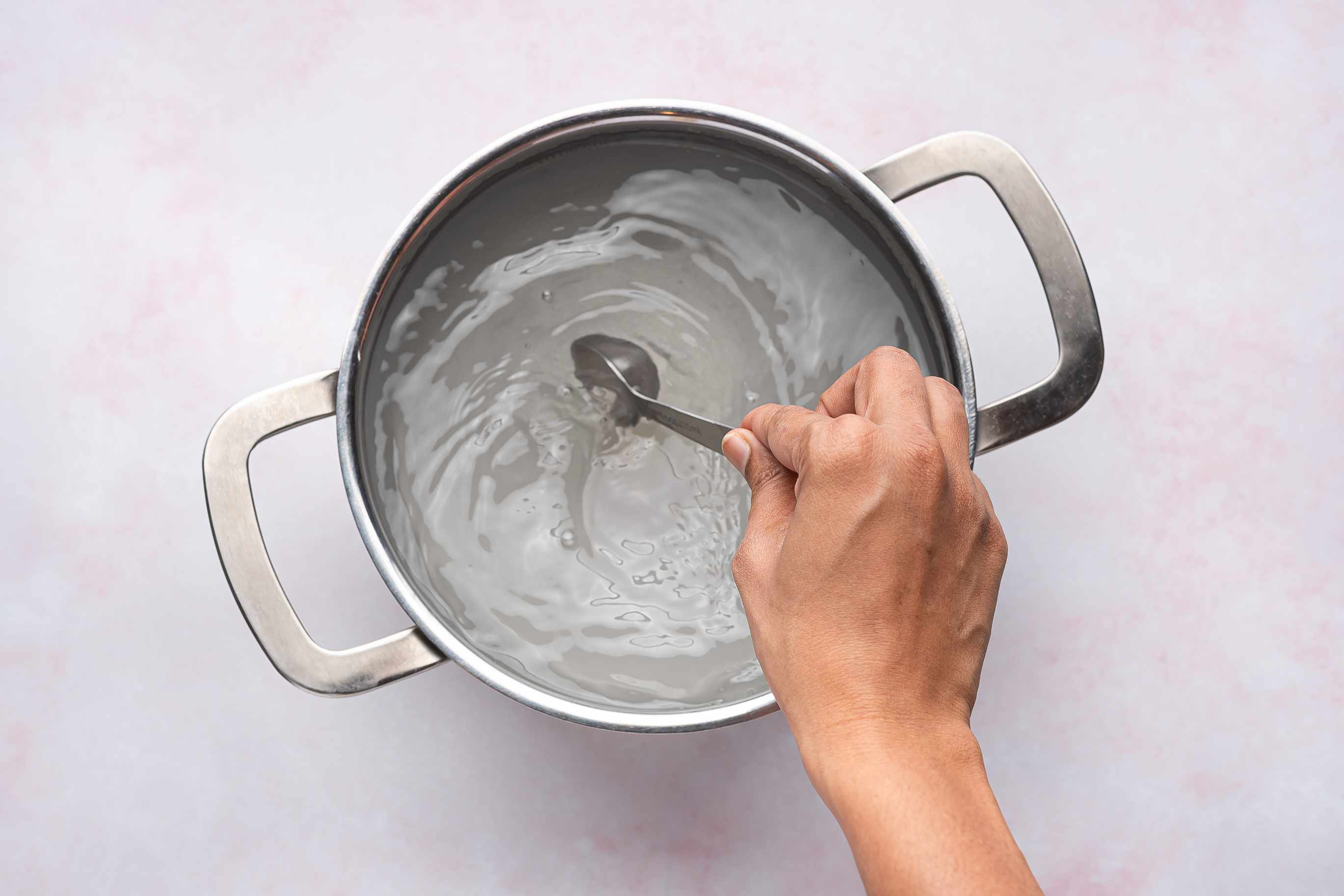 salt, sugar and water in a pot
