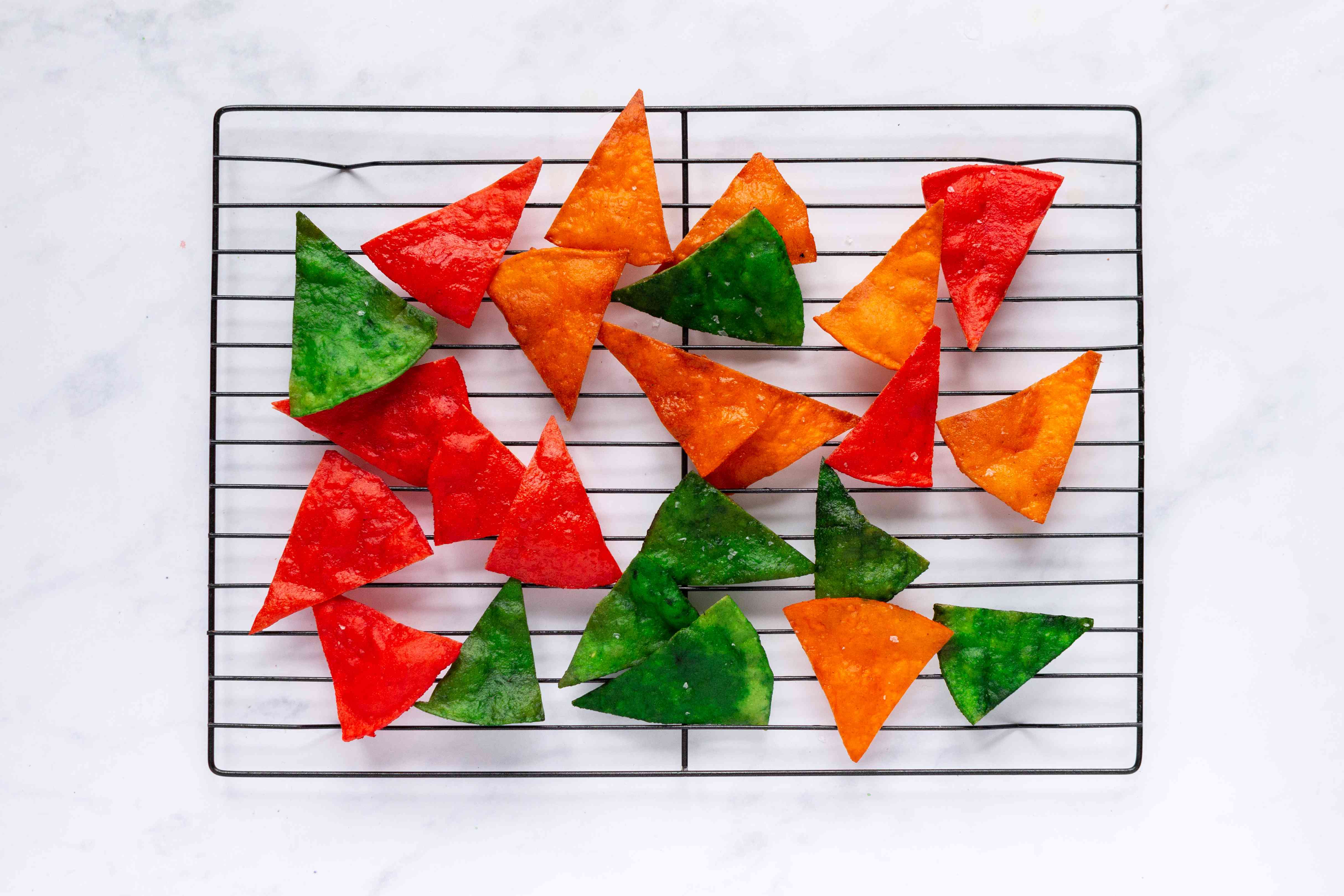 Multicolored Totopos on a cooling rack