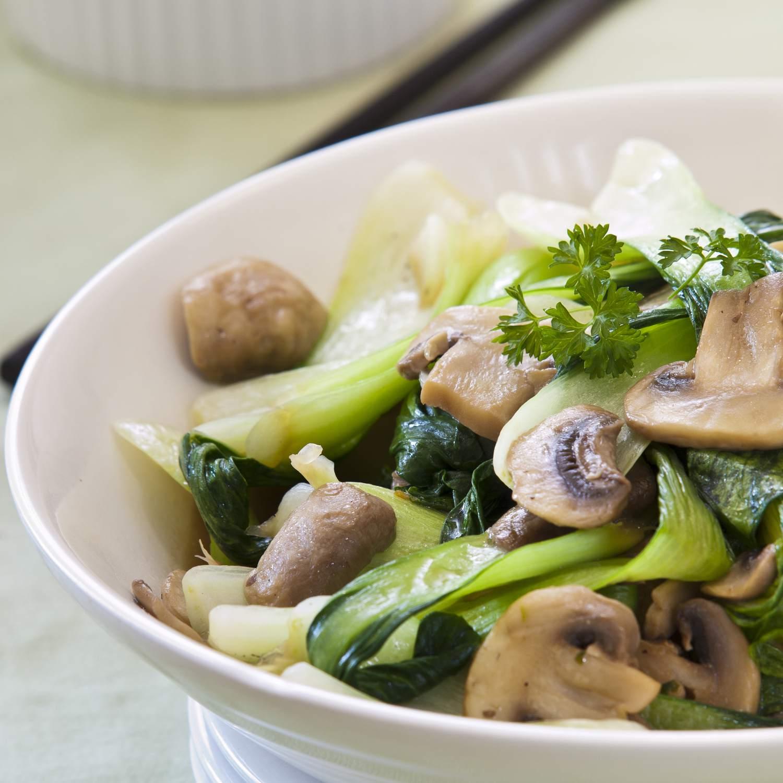 Bok choi stir-fry with mushrooms