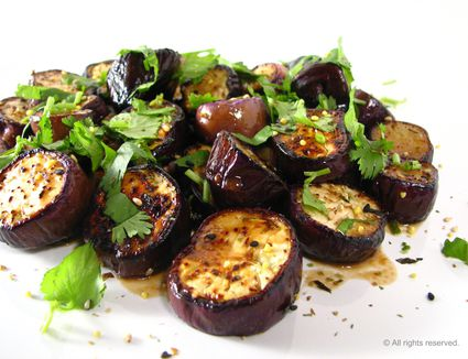 Eggplants with dressing