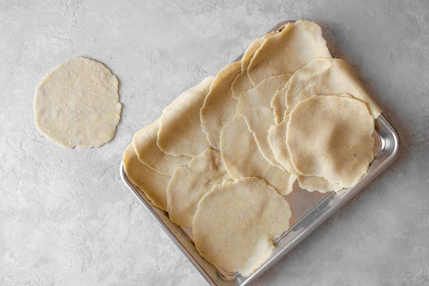 rolled out dough pieces
