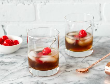 Two glasses of Black Russian cocktails