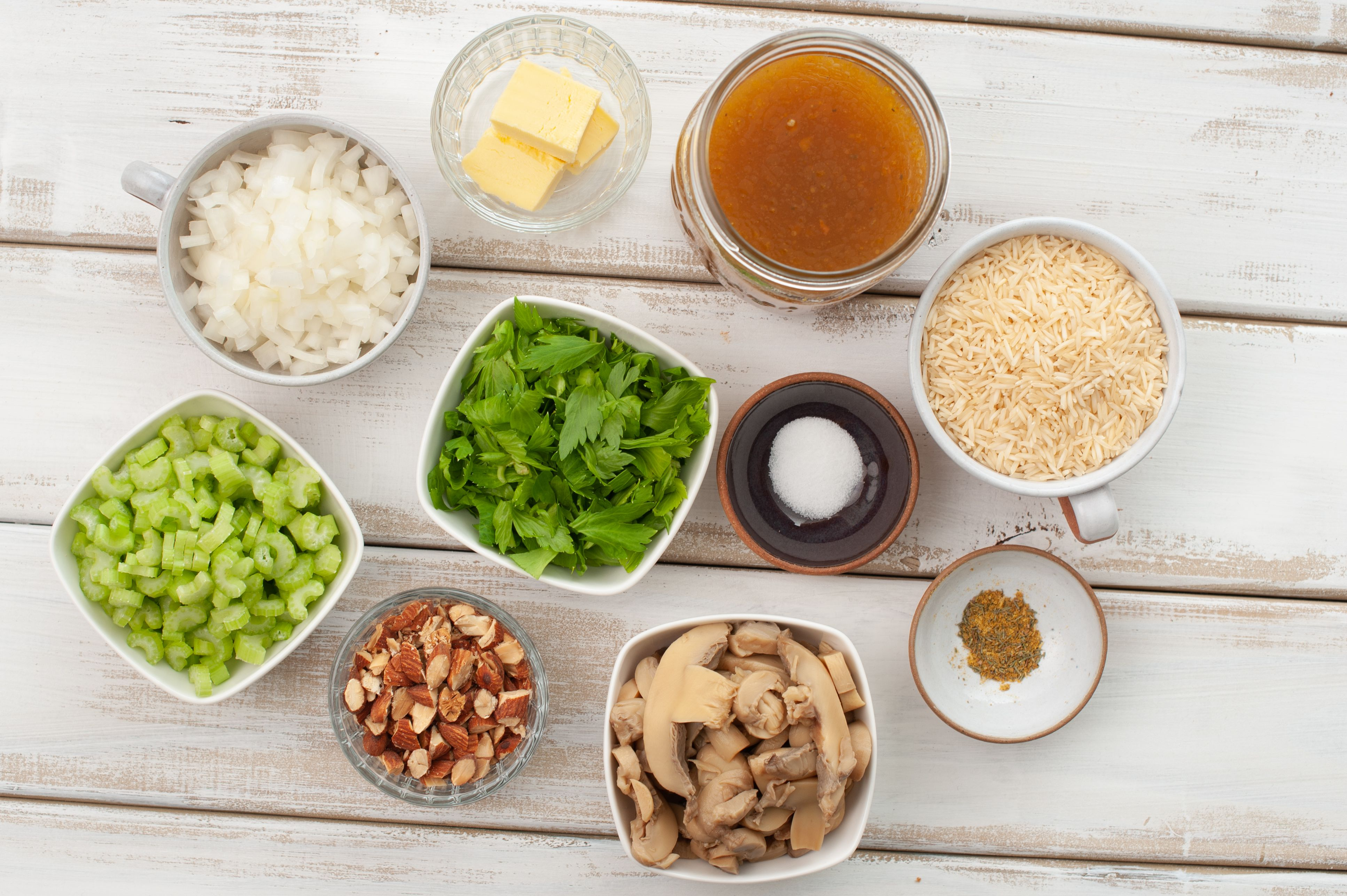Ingredients for gluten free vegetarian rice stuffing