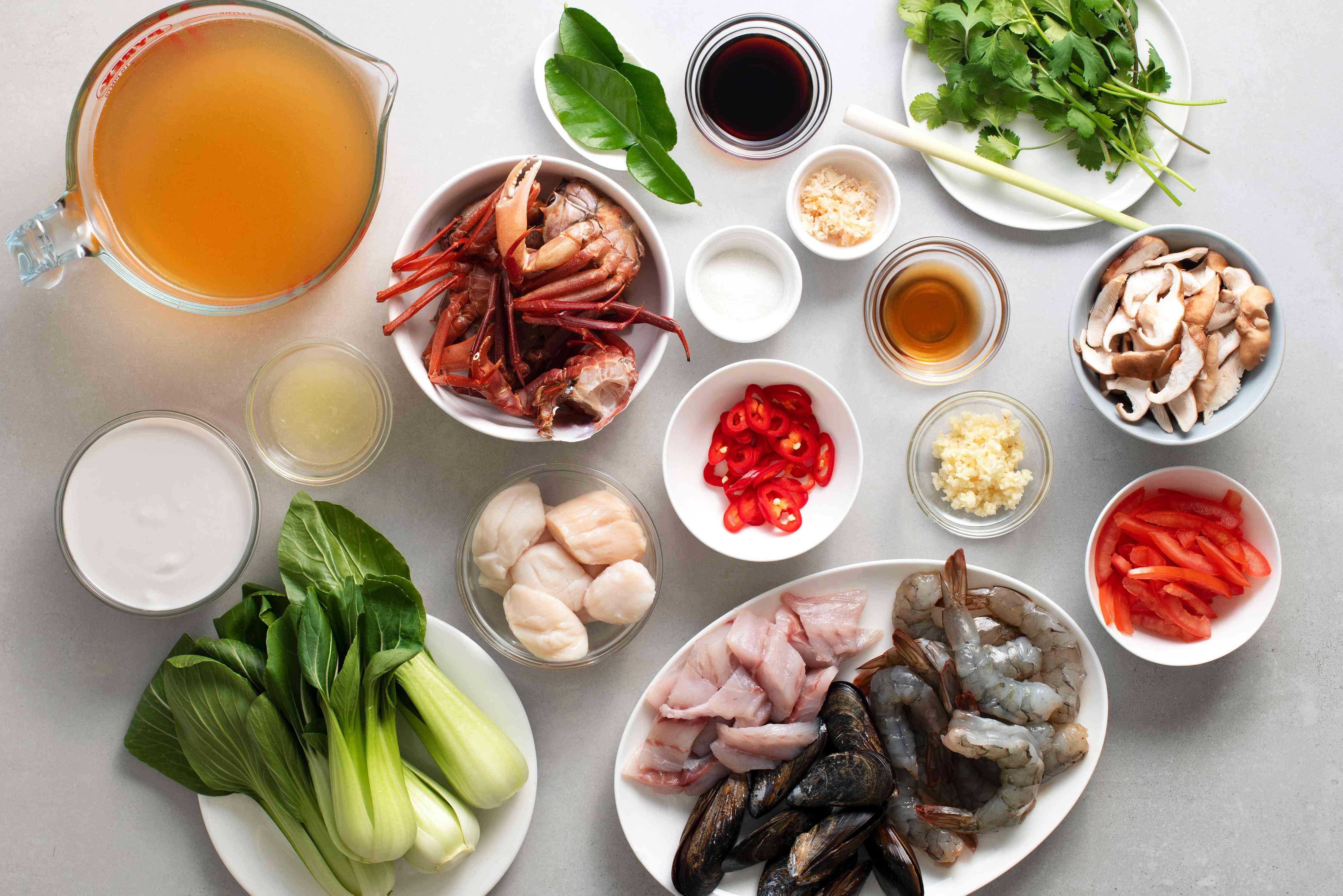 Ingredients to make Tom Yum Talay soup