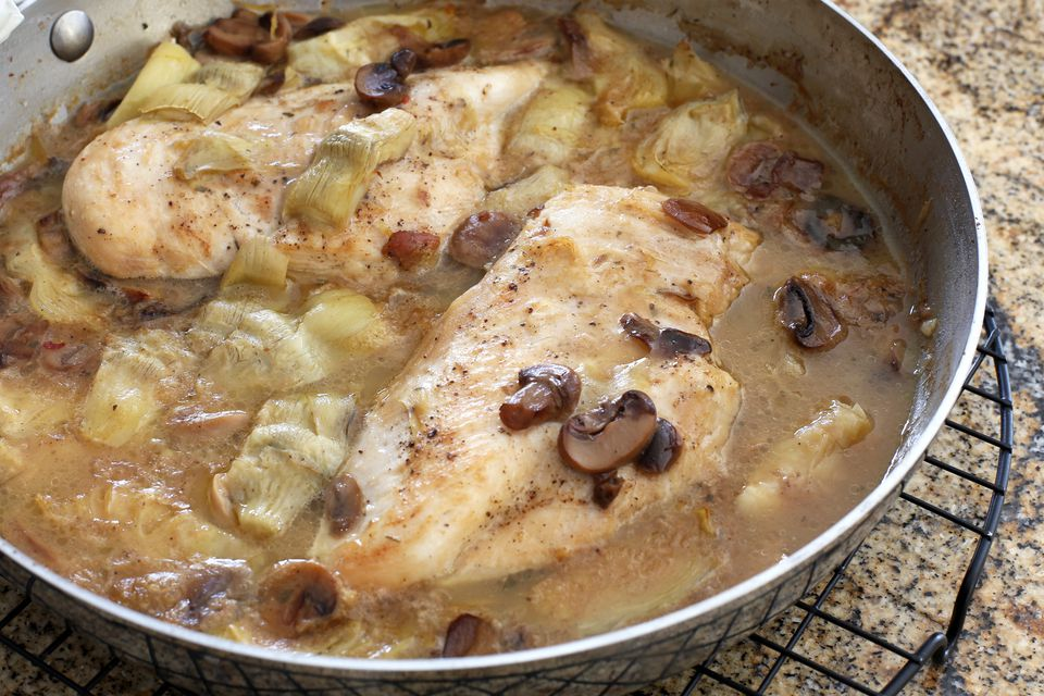 Chicken, artichoke and mushroom casserole