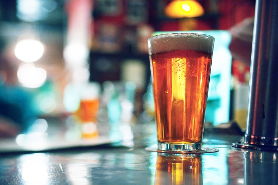 glass of beer on a bar