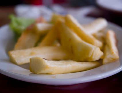 A plate of yucca fries