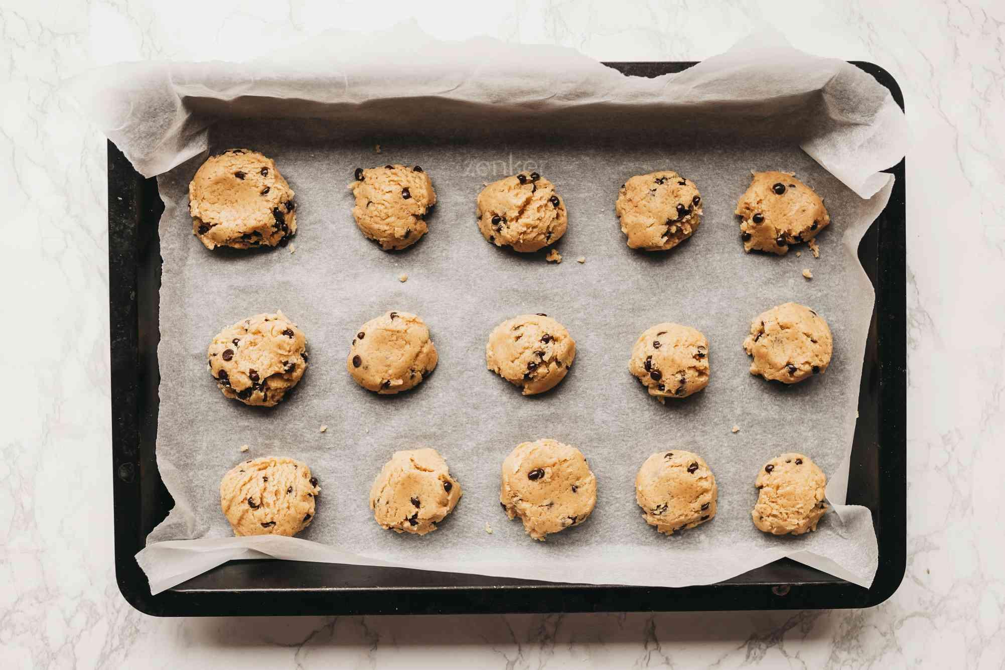Drop spoonfuls onto baking sheet