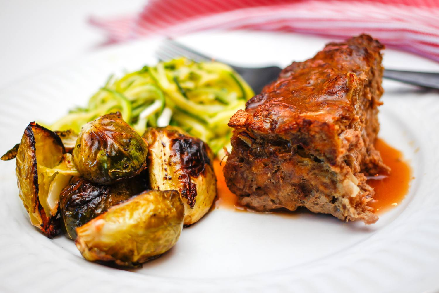 Meatloaf With Gravy and Brussels sprouts
