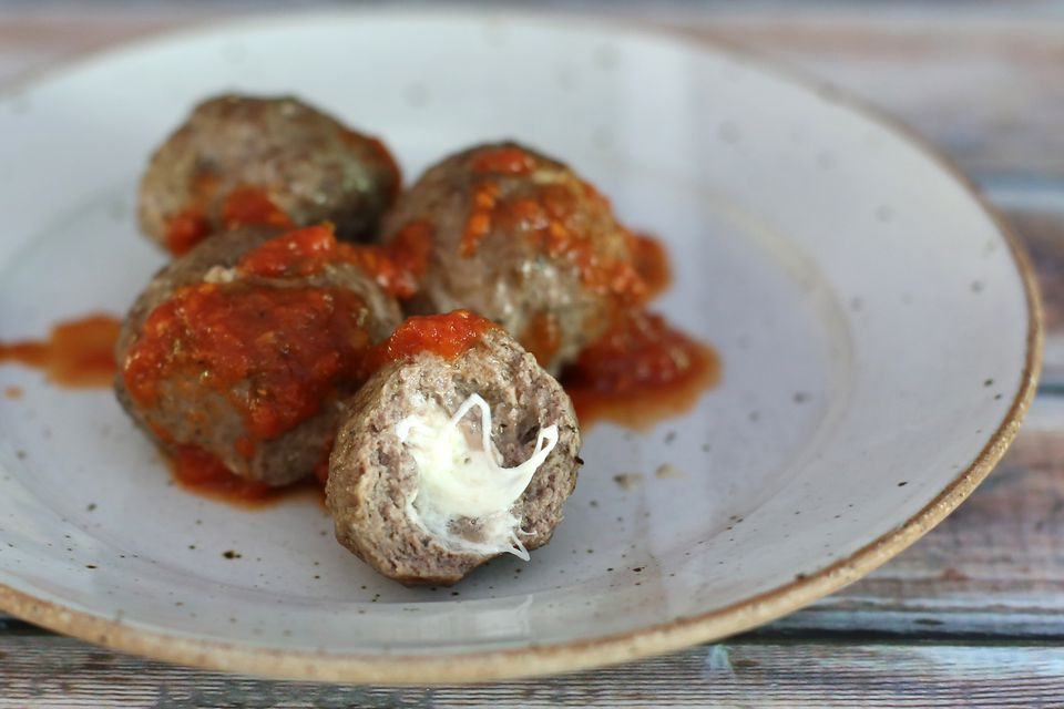 Baked Stuffed Meatballs With Mozzarella Cheese