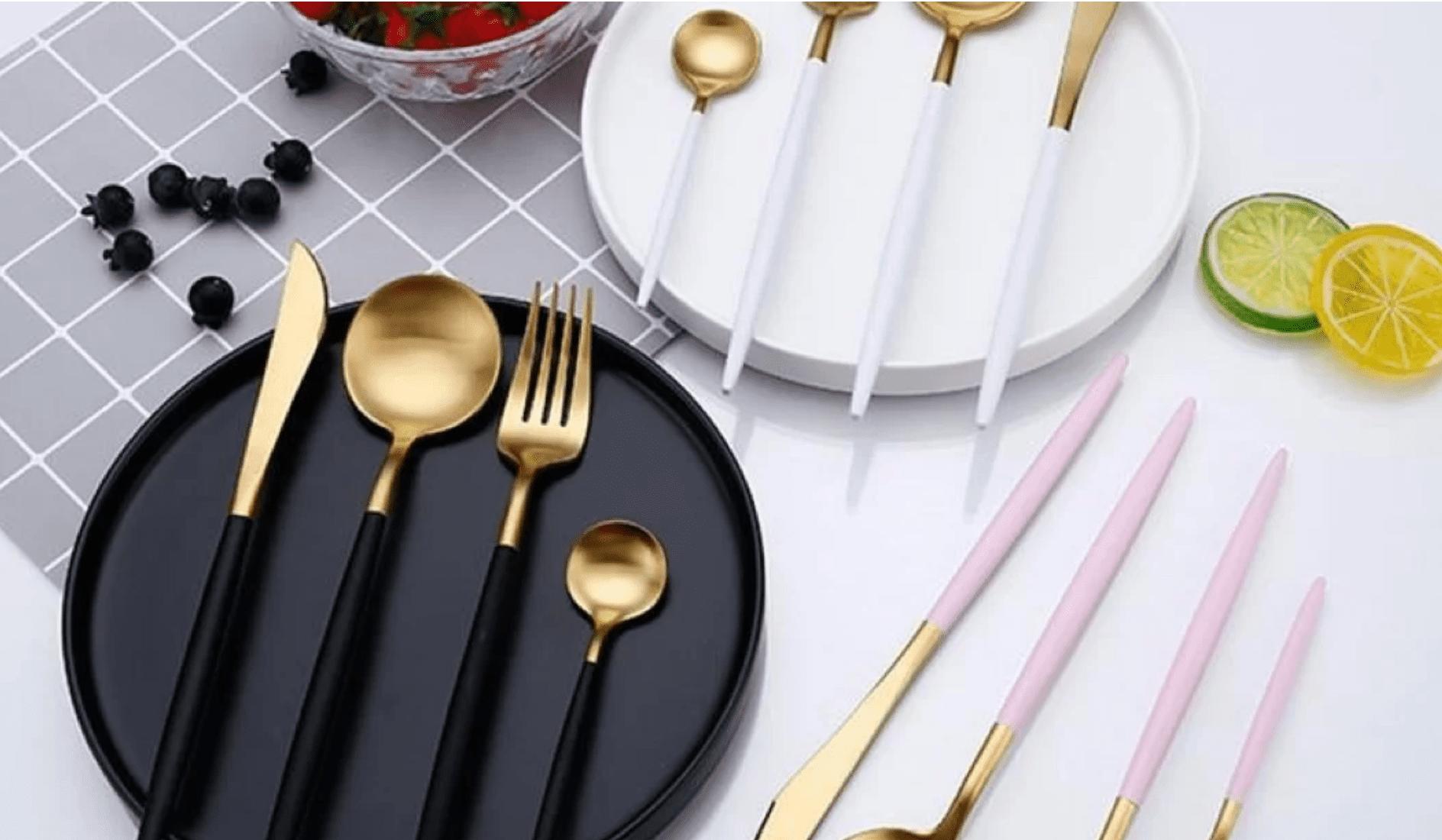 Gold and Matte White Flatware Set