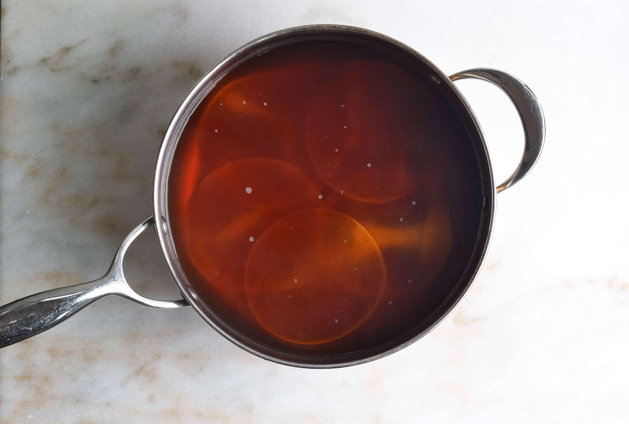 dumpling wrappers boiling in coffee