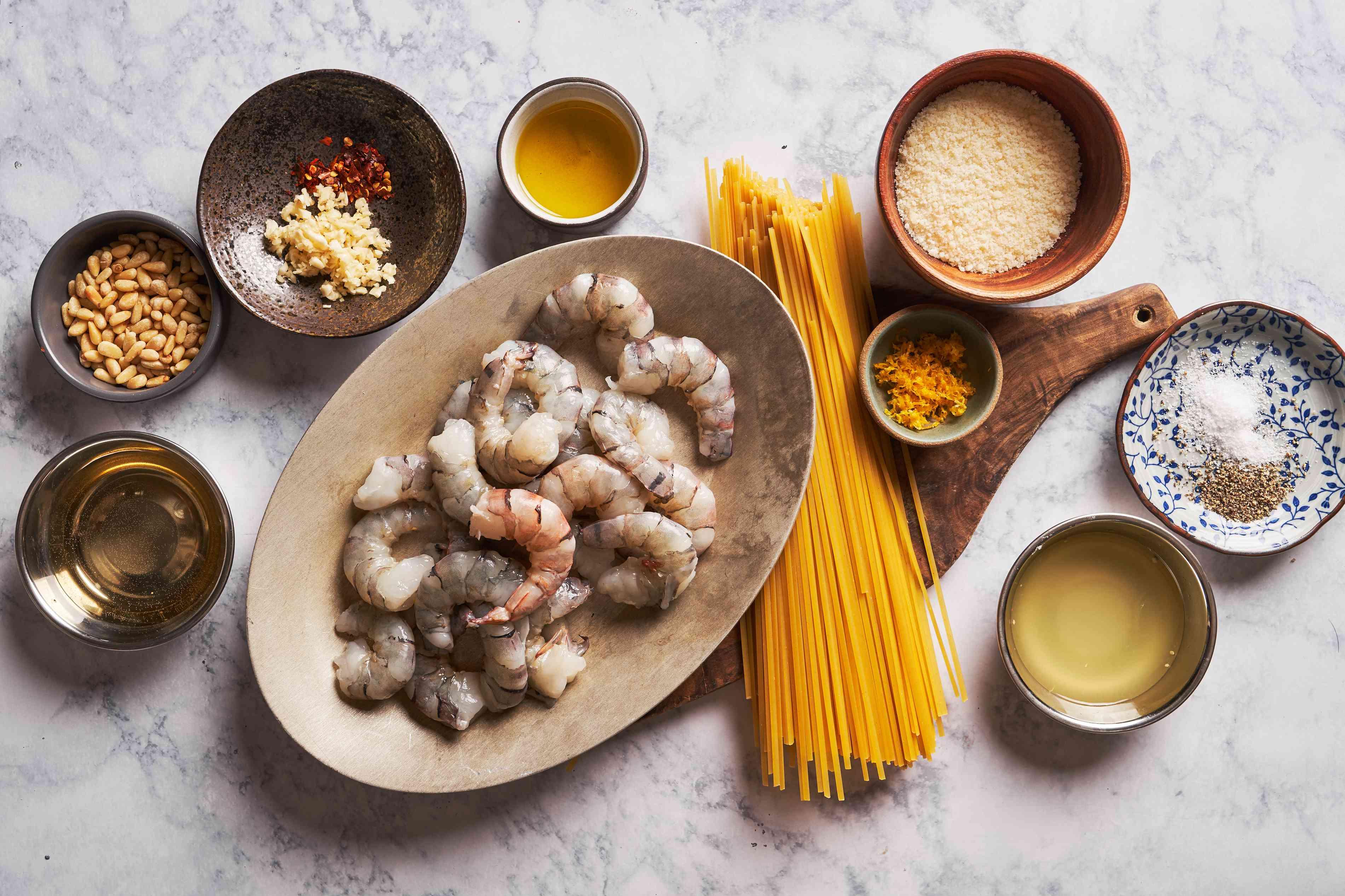 Ingredients for garlic lemon shrimp pasta