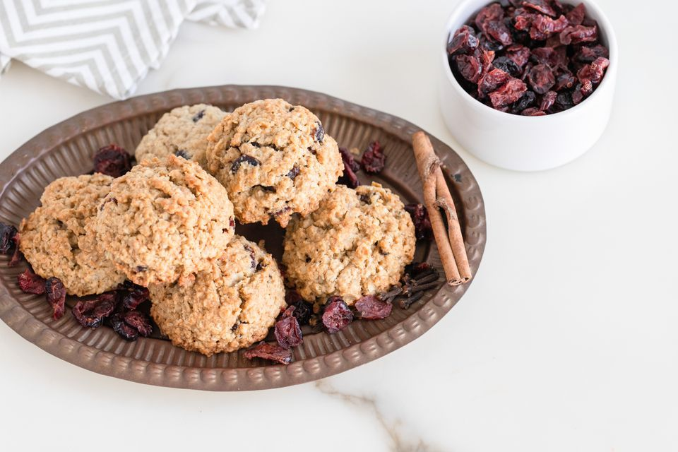 vegan oatmeal cookies with spices and dried cranberries