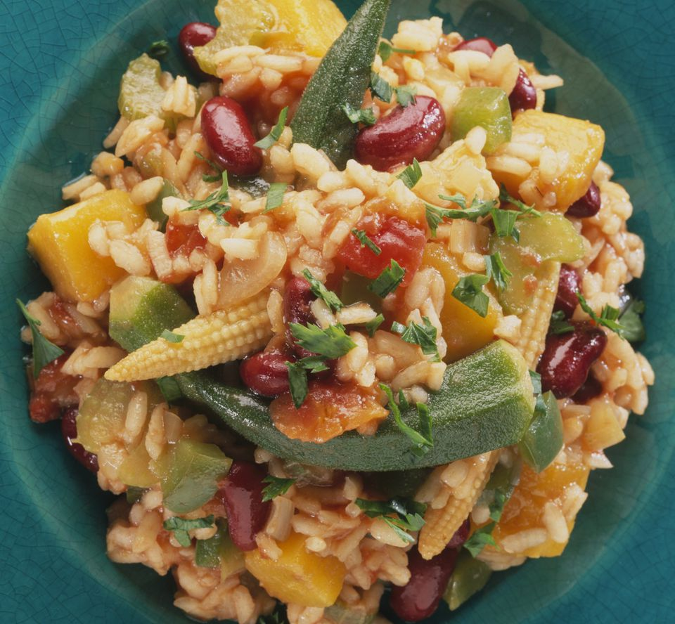 Vegetarian jambalaya with okra