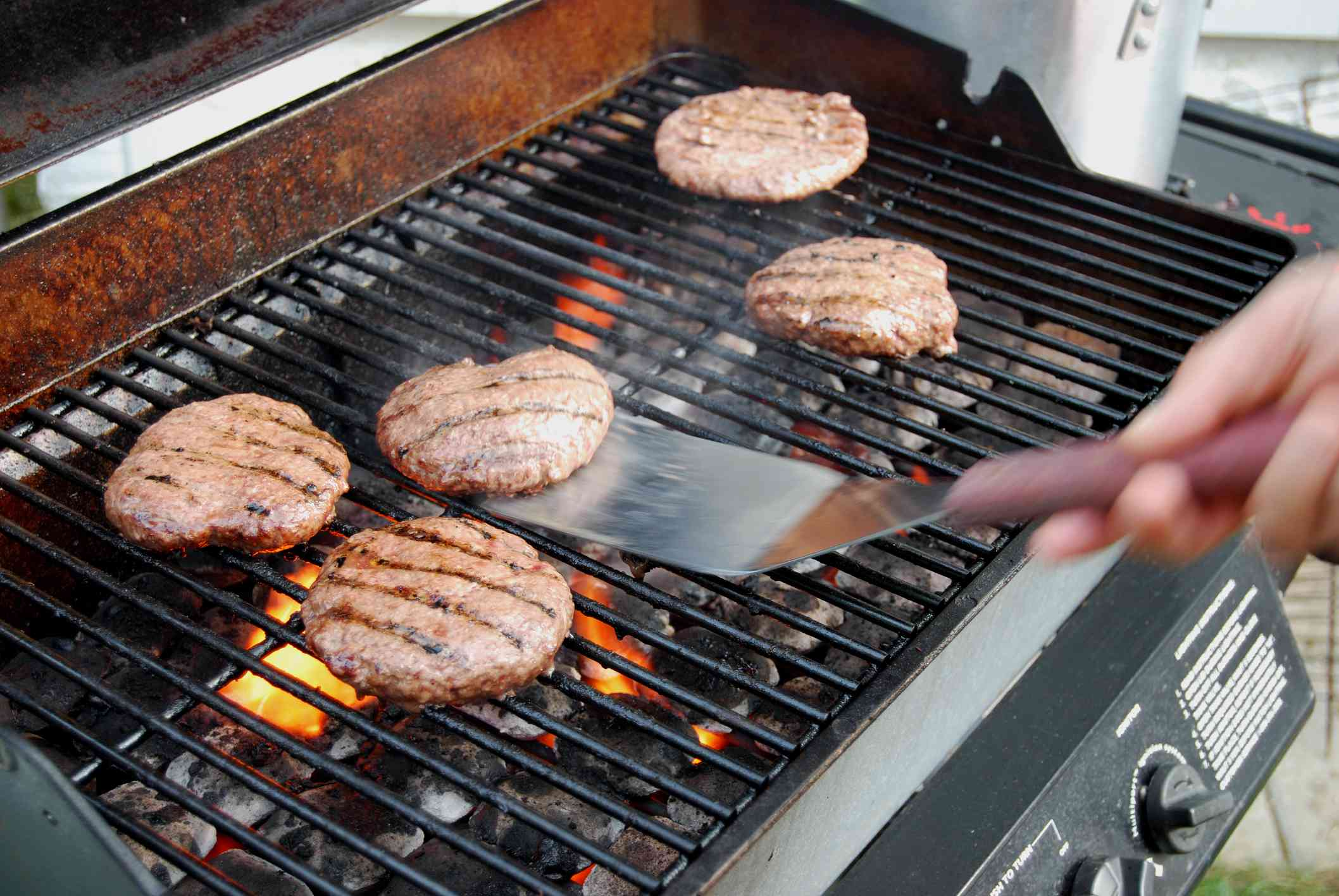 Turn burgers once when grilling
