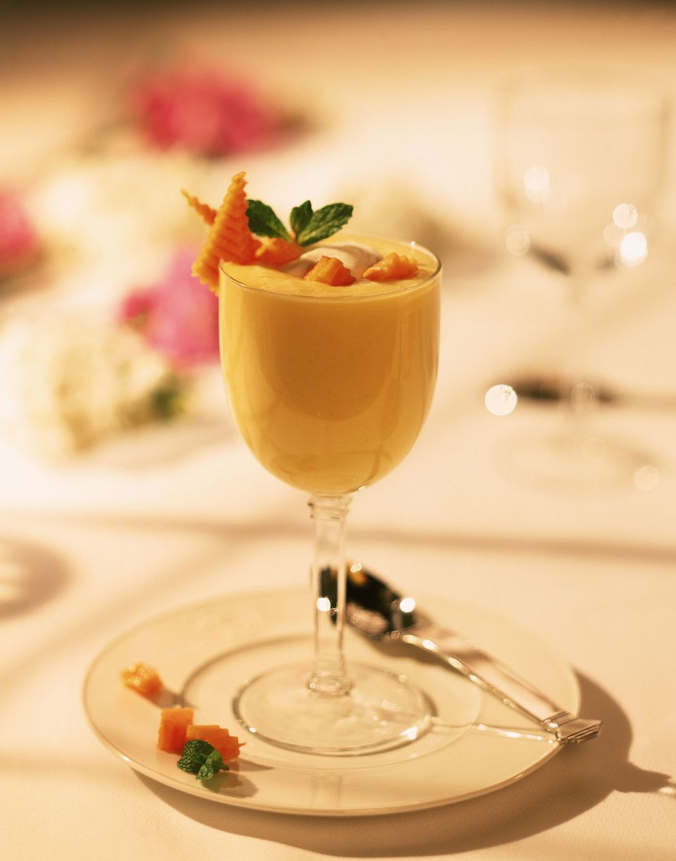 Mango custard on decorative plate.