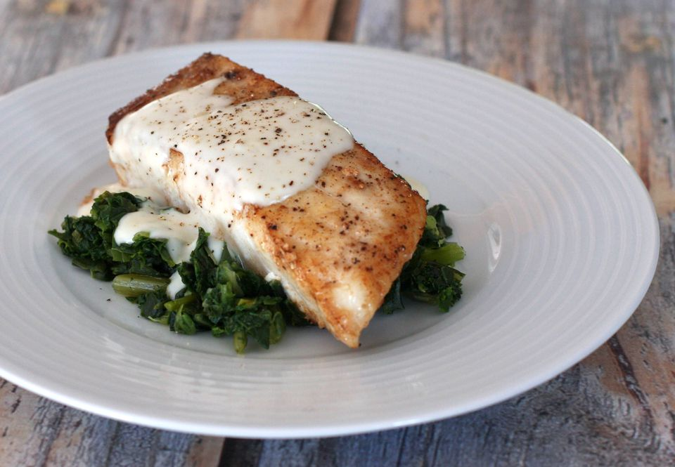 halibut with sauce