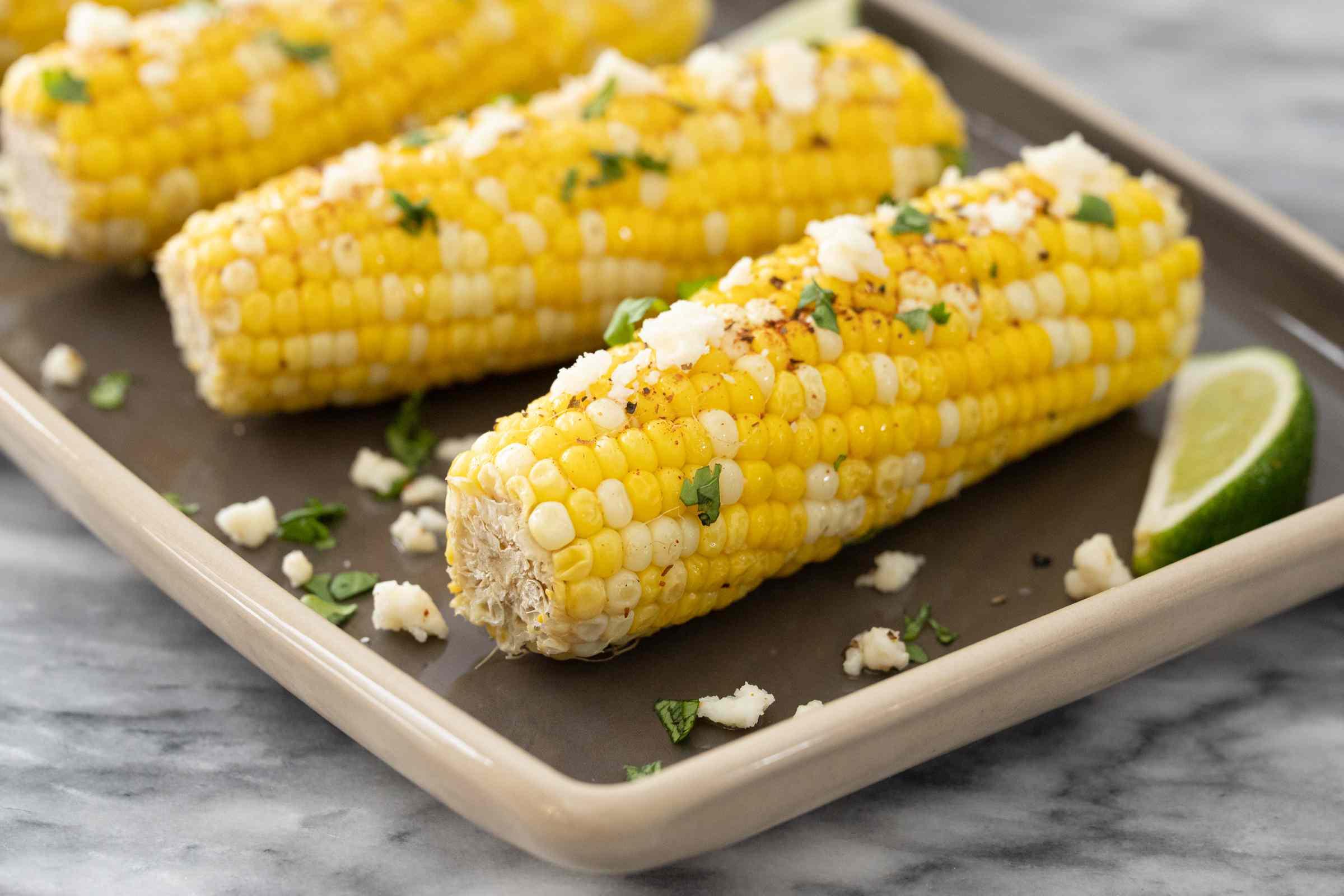 Closeup of Instant Pot corn on the cob.