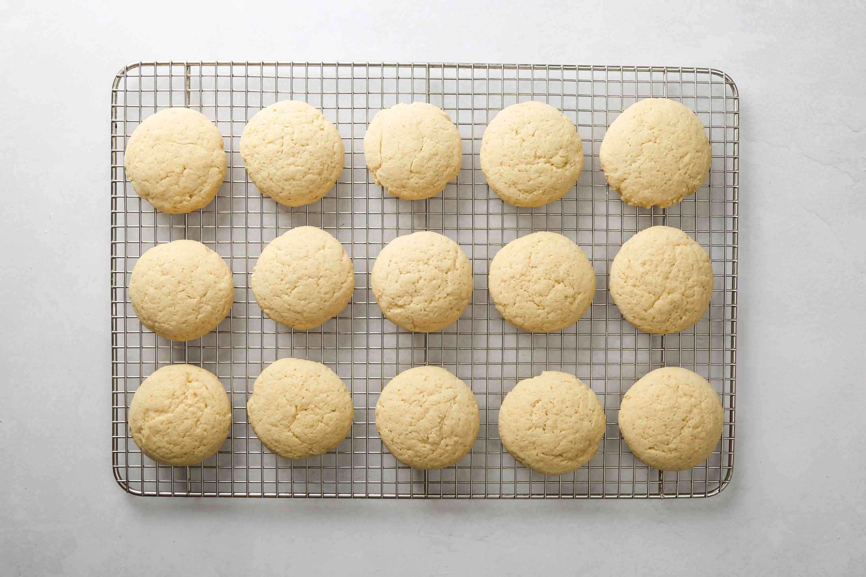 Lofthouse cookies cooling on a wire rack