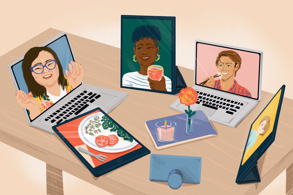 """illustration featuring a """"virtual"""" dinner party on laptops, ipads and phones"""