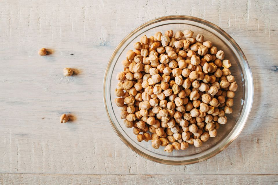 close-up of chickpeas in a bowl