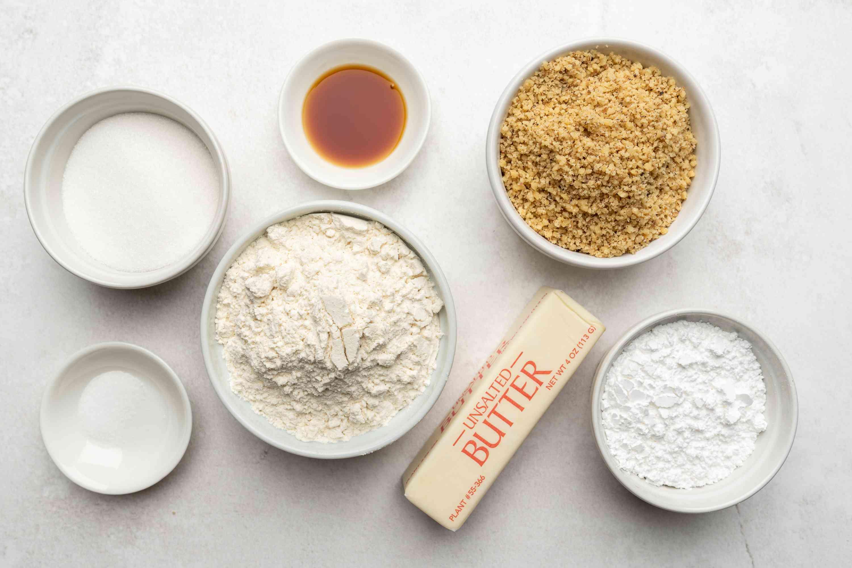 Ingredients for walnut crescent cookies
