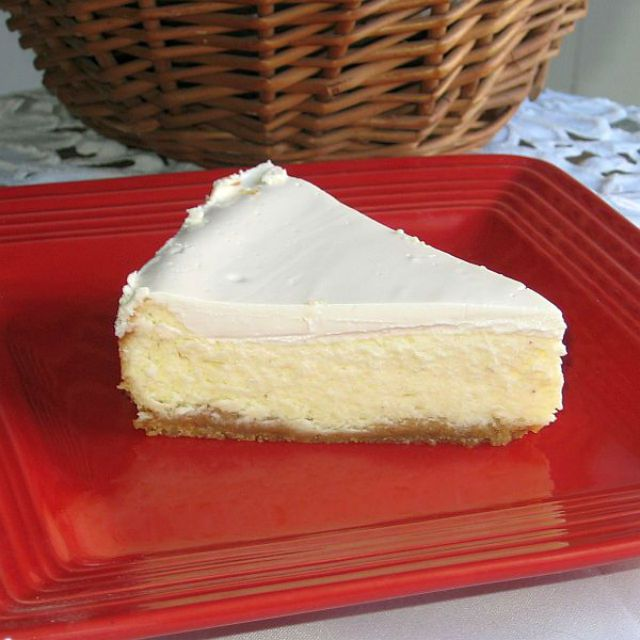 Slice of Polish-American cheesecake