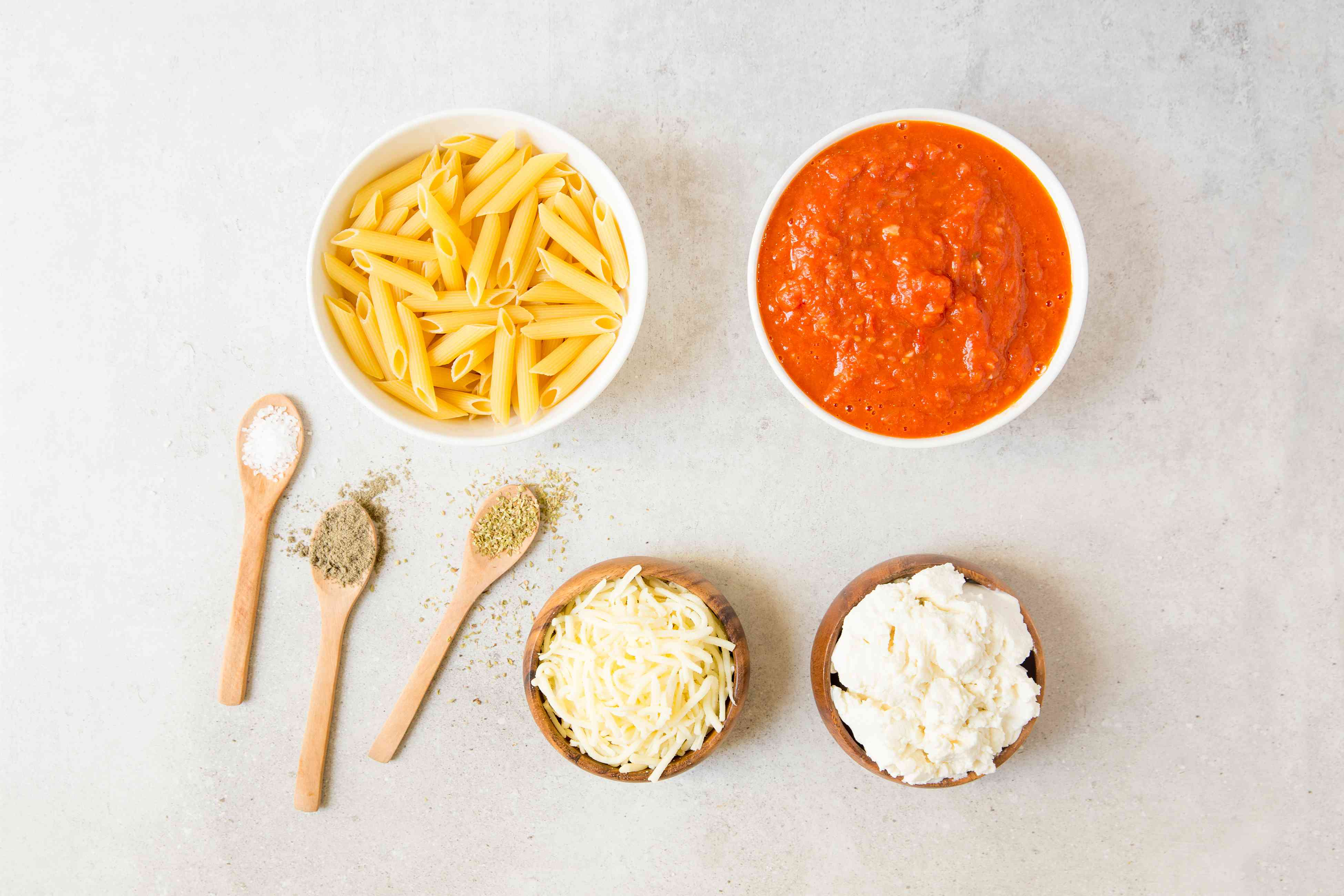 Ingredients for oven baked pasta recipe