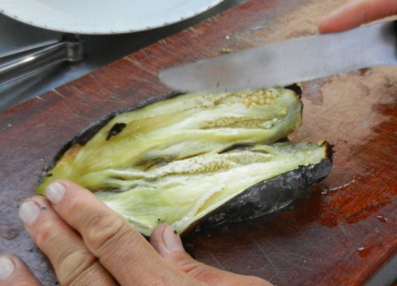 cut eggplants down the middle