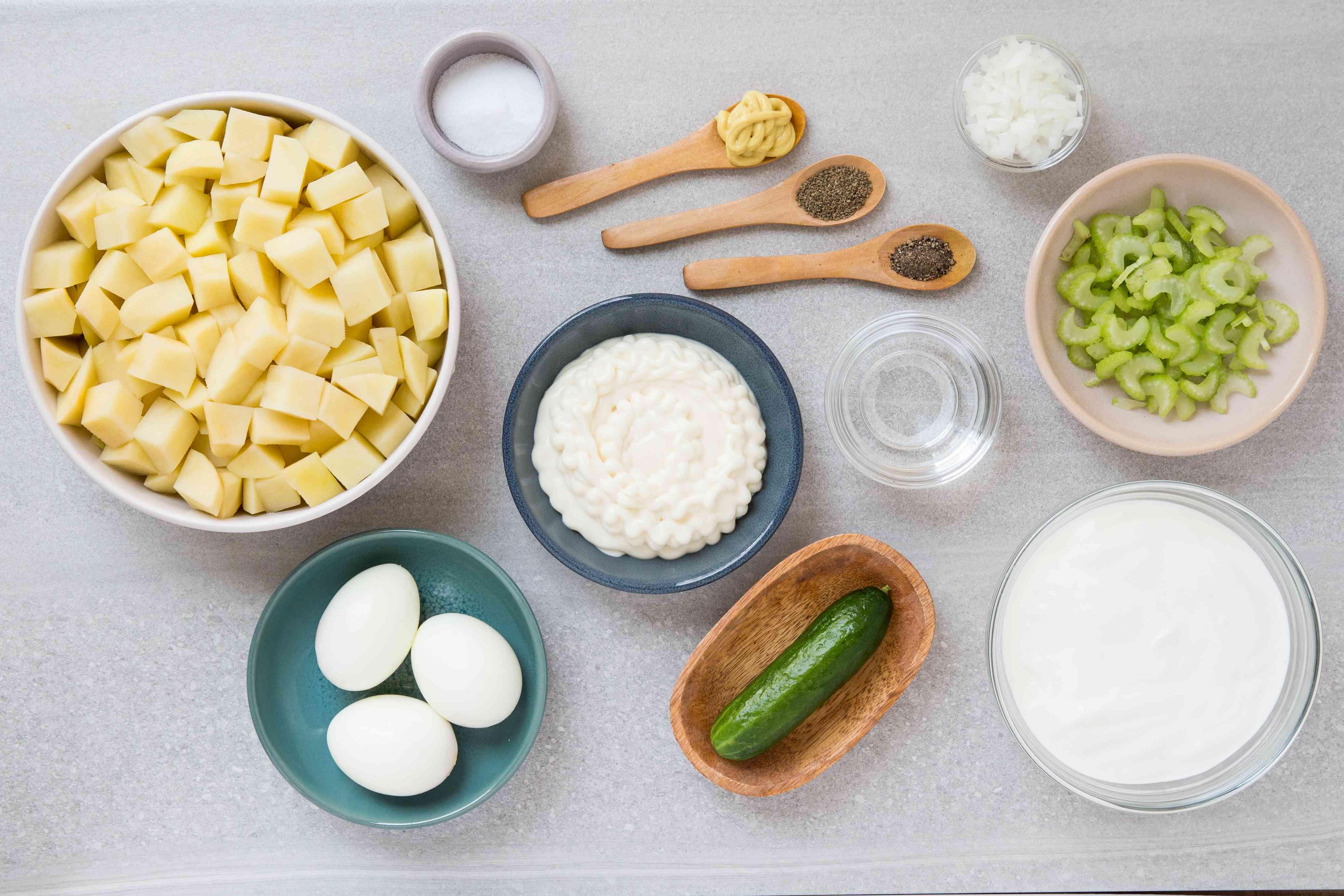 Sour Cream Potato and Egg Salad Recipe ingredients