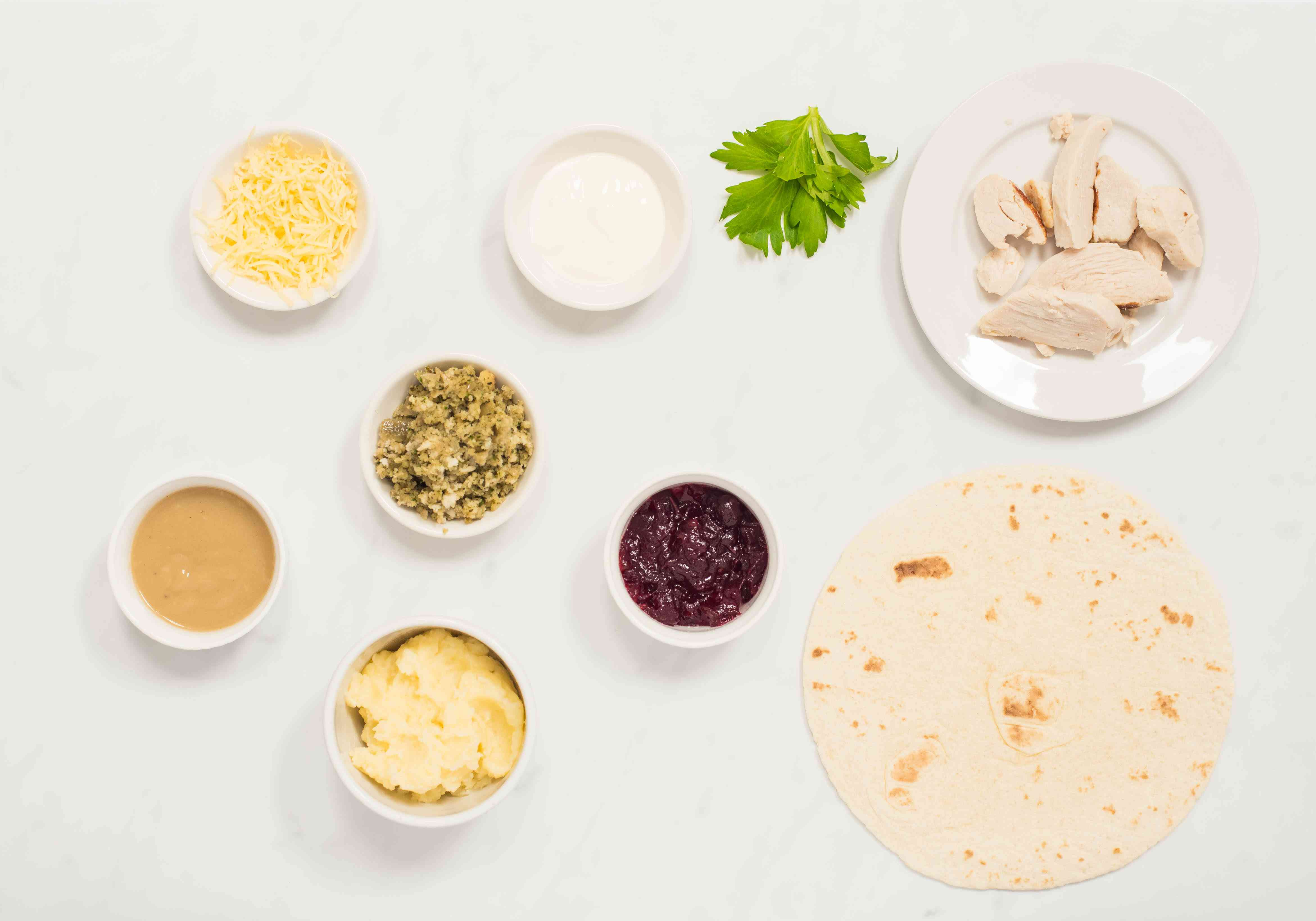 Ingredients for leftovers burrito