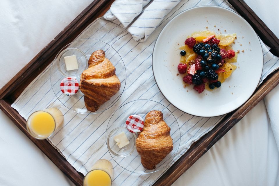 Croissants and fruit plate