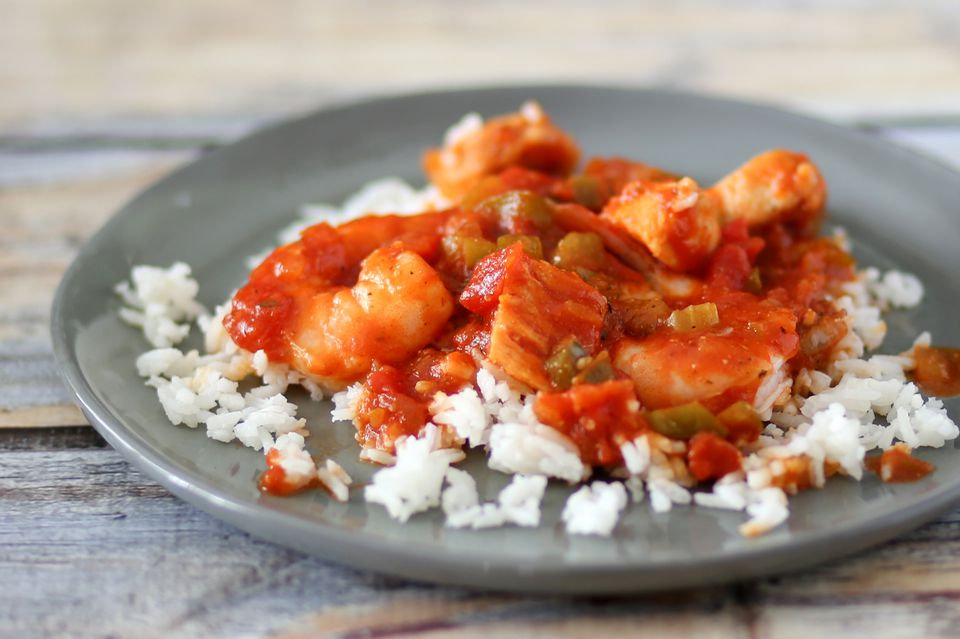 Spicy Chicken and Shrimp on Rice