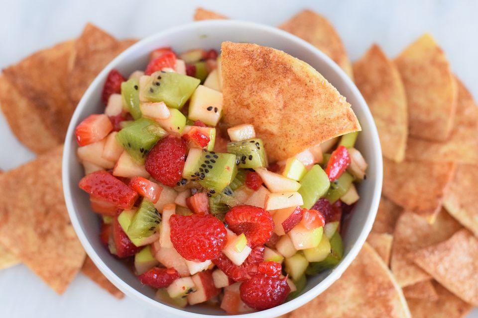 Fruit Salsa With Homemade Cinnamon Crisps