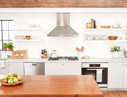 clean organized kitchen featuring The Spruce and Lowe's organization line