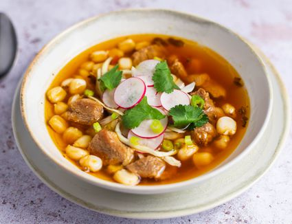 A bowl of Mexican pozole