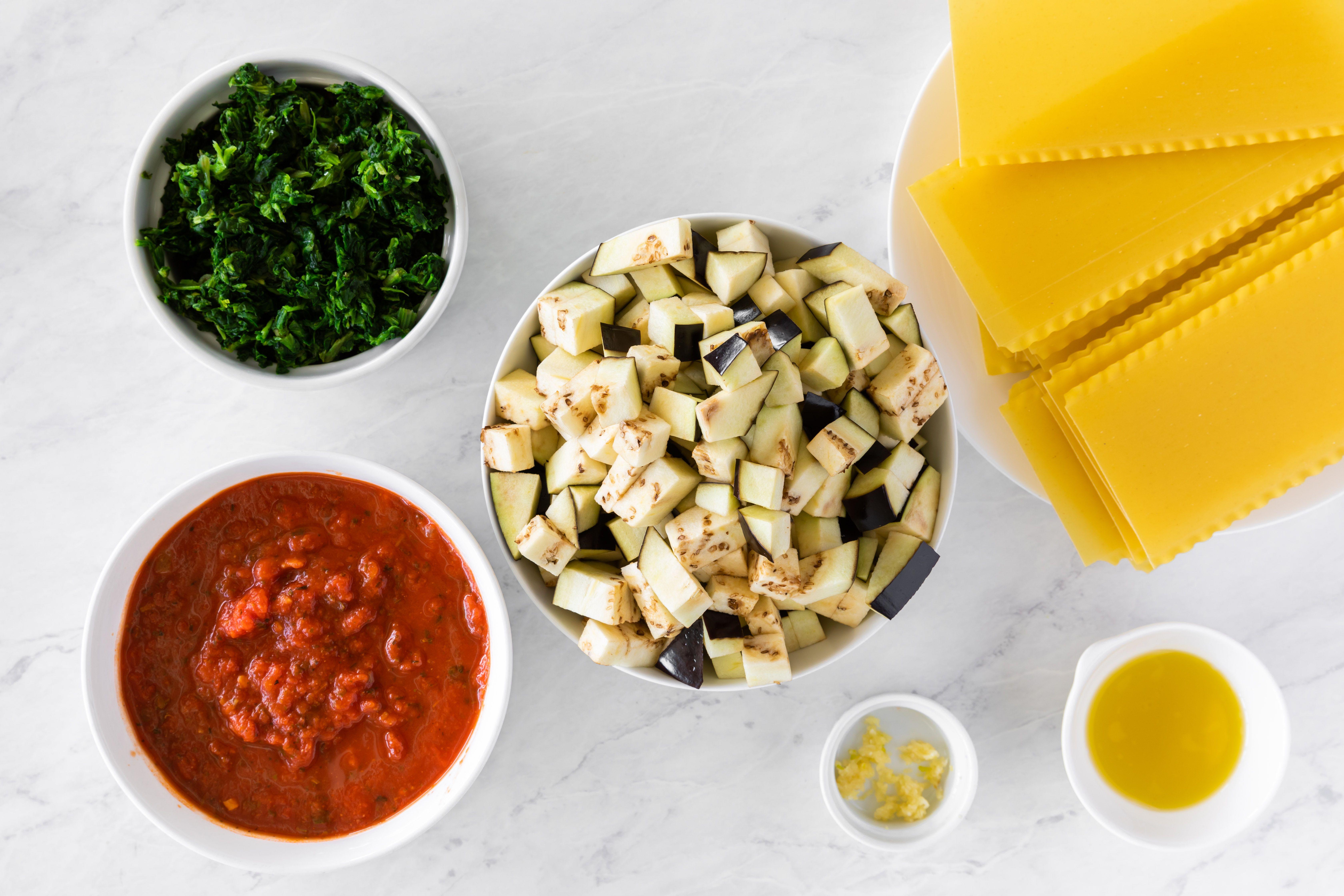 Ingredients for low fat vegan eggplant lasagna