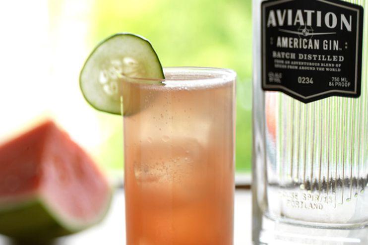 Watermelon Cucumber Cooler Aviation Gin Cocktail