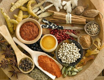 Overhead view of an assortment of spices