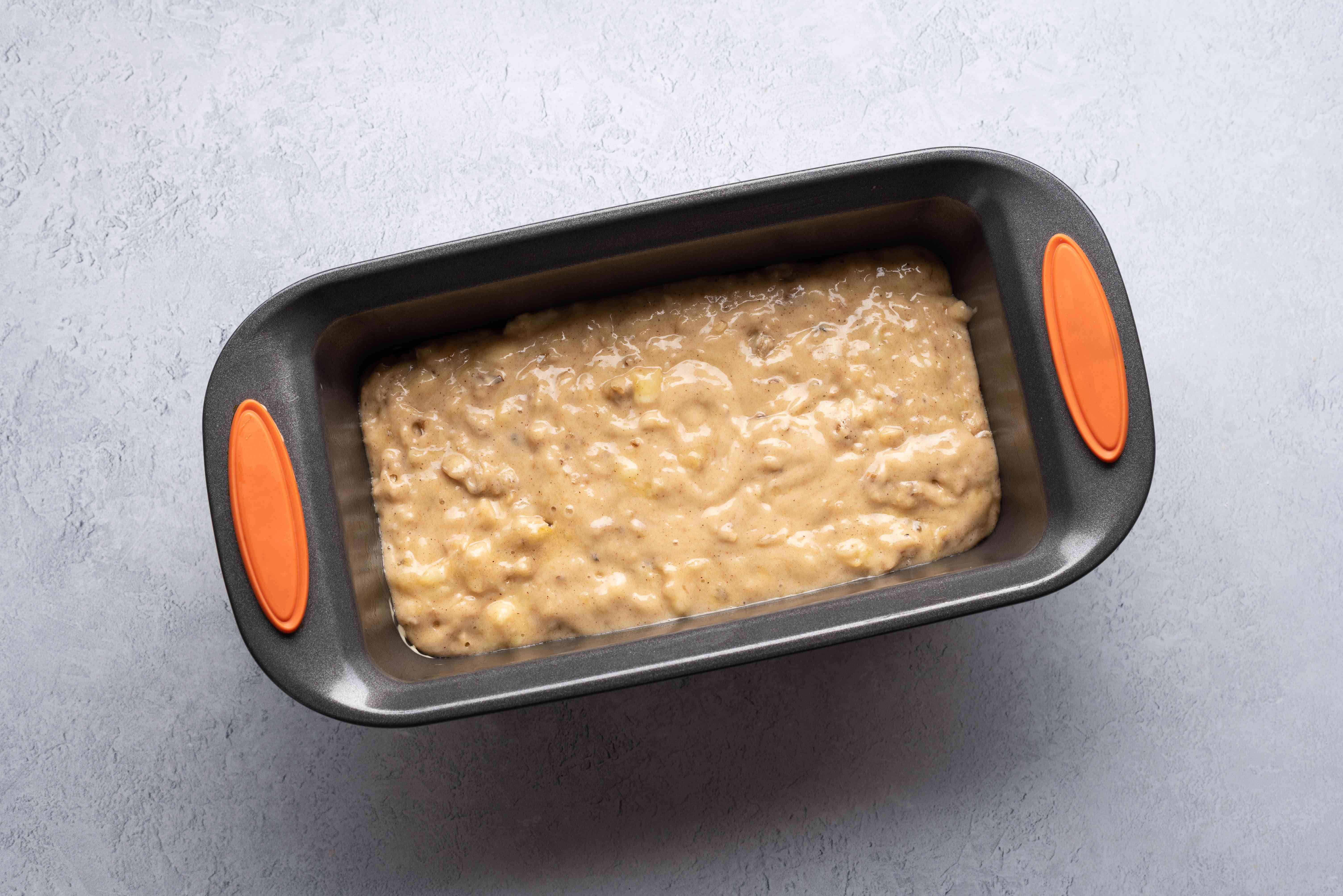 gently pour the batter into your prepared loaf pan