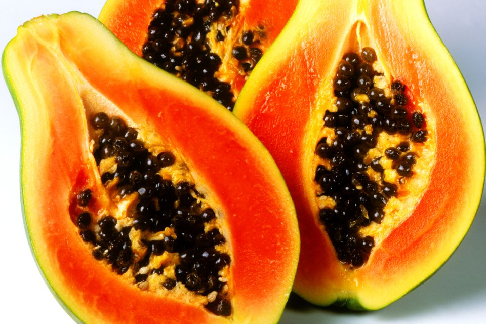 Halved papayas