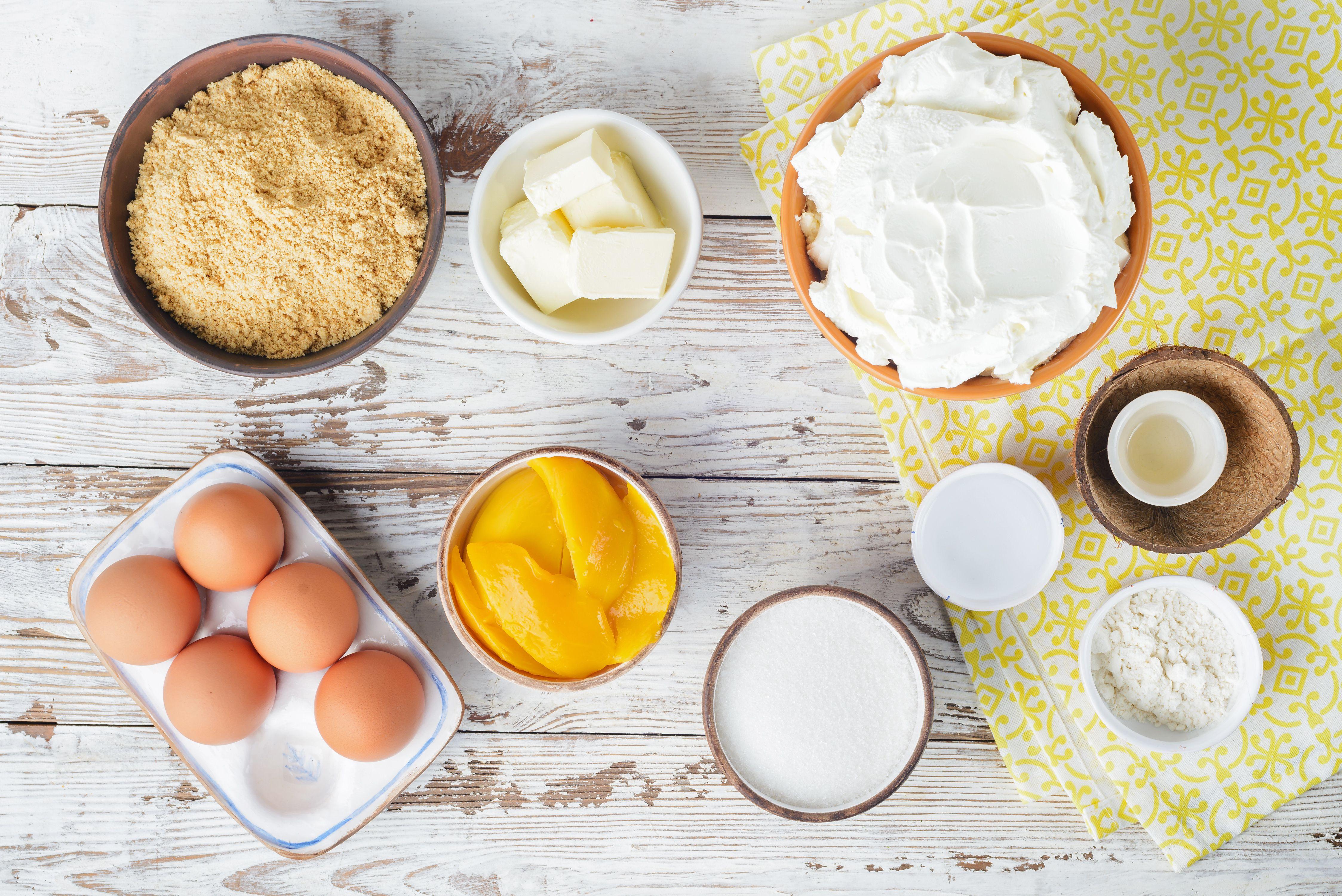 Ingredients for mango swirl cheesecake