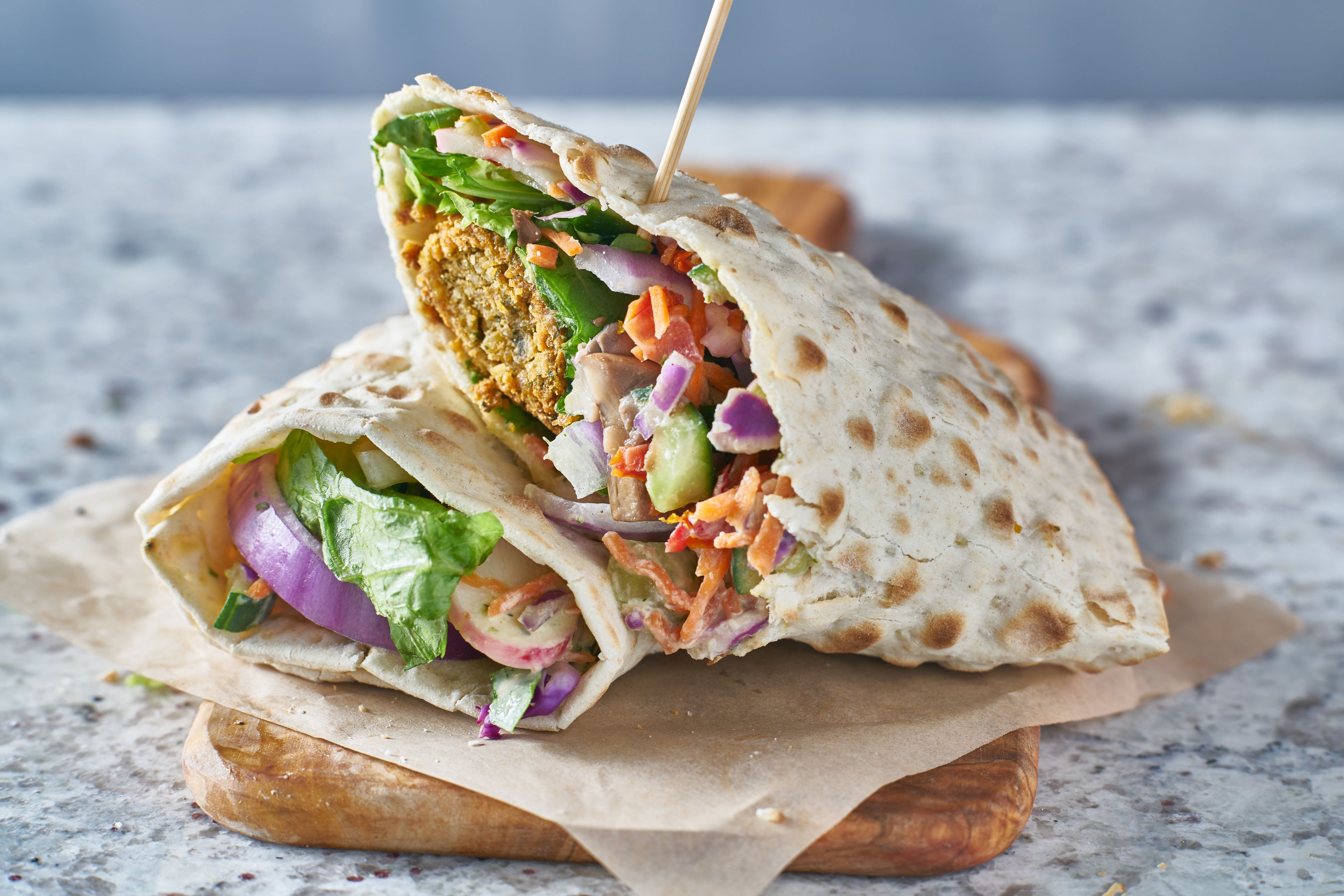 Tasty falafel wrap
