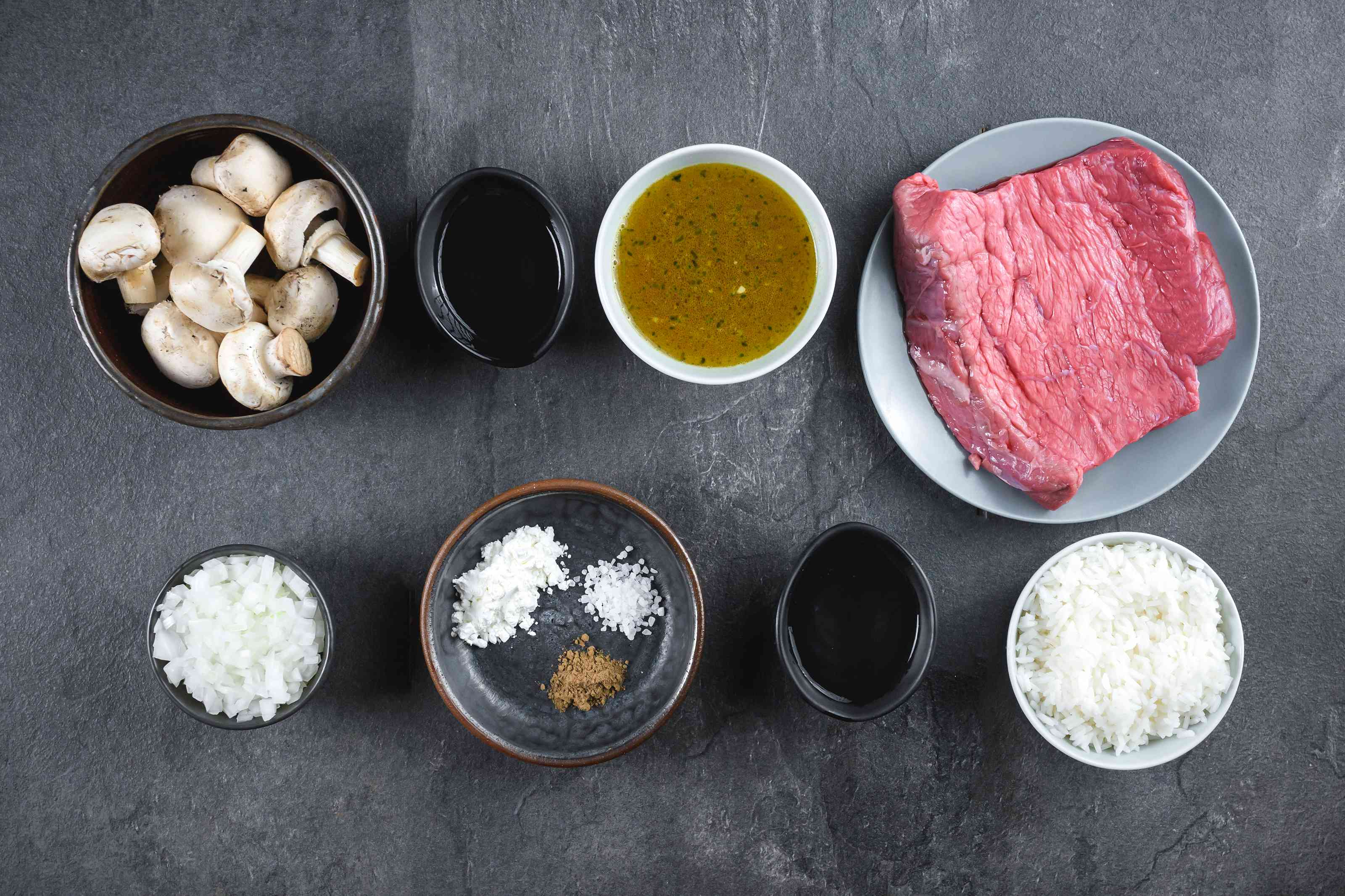 Ingredients for beef tips with rice