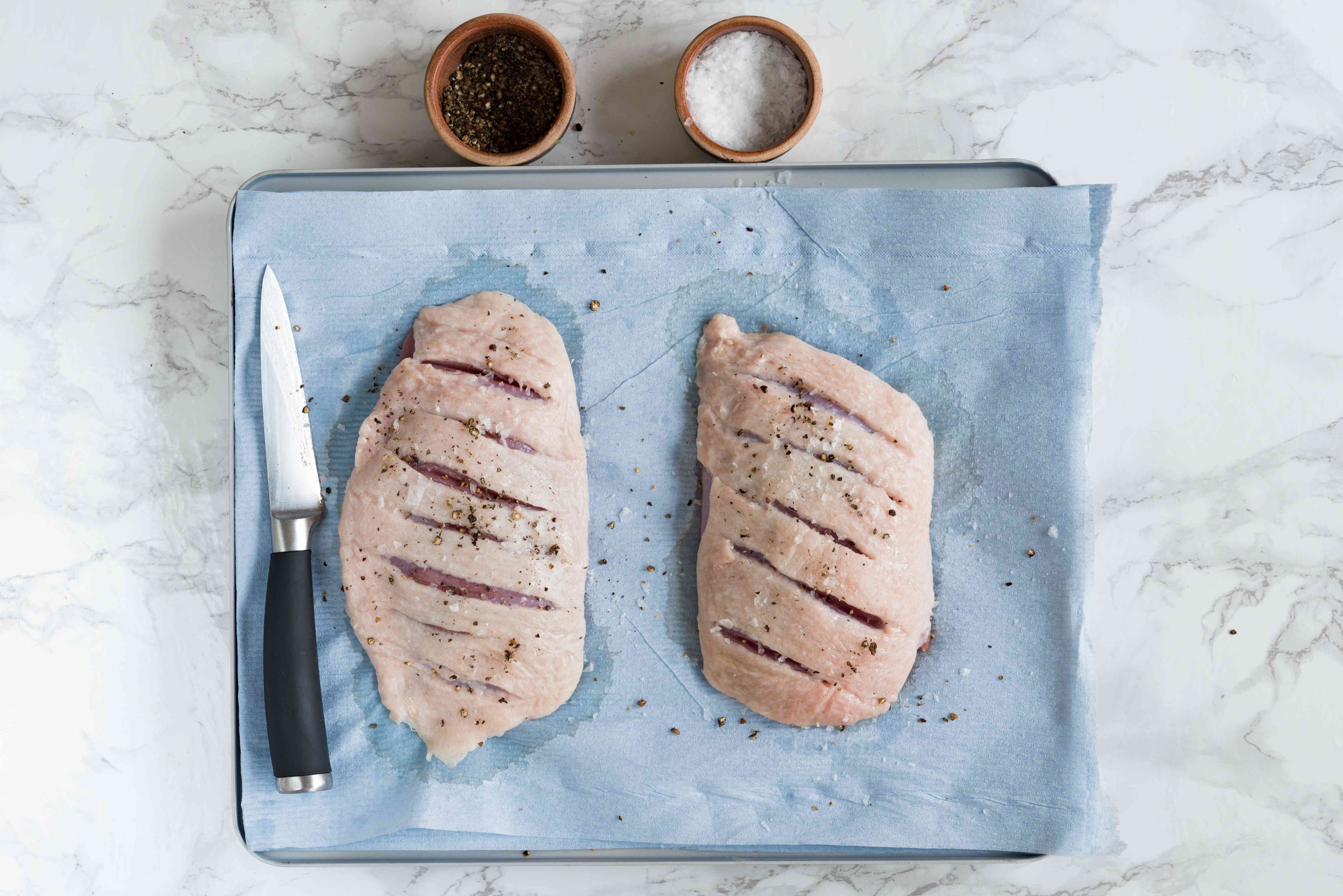 duck breasts seasoned with salt and pepper