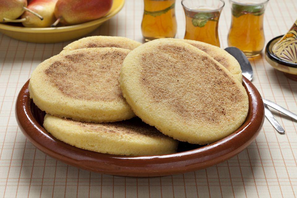 Harina de sémola marroquí pan plano frito