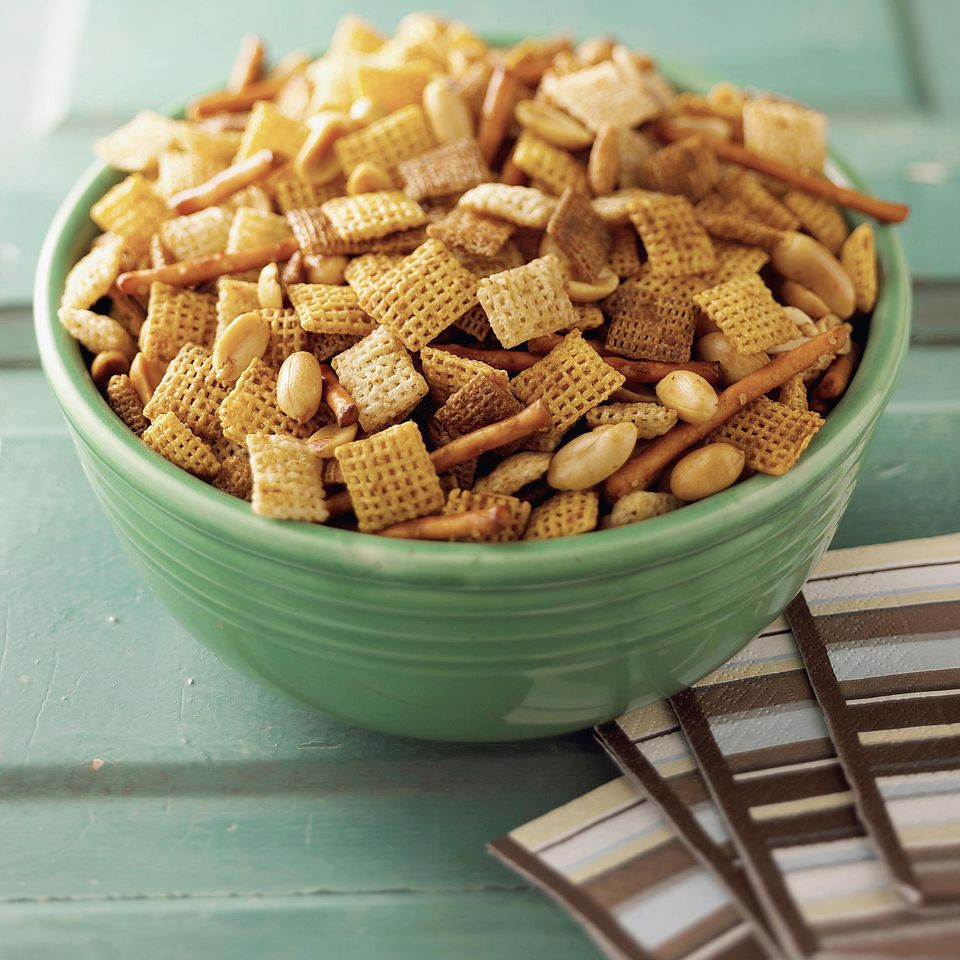 Chex mix can be sweetened with caramel