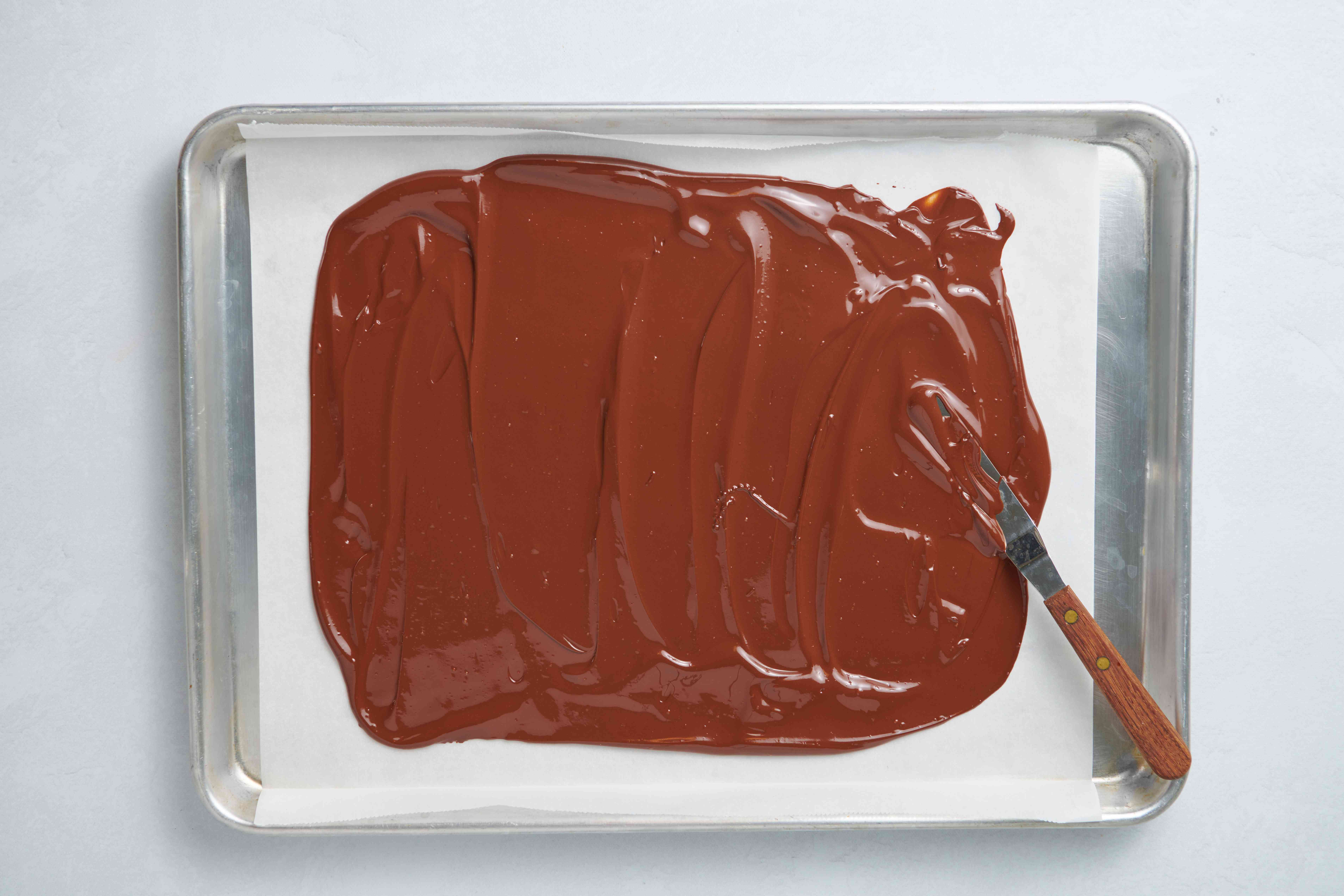 chocolate spread on a baking sheet